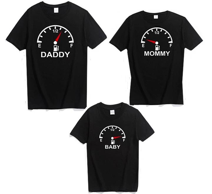 """Семейные футболки для троих """"Топливо на 0"""""""