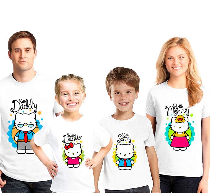 """Семейные футболки для семьи на четверых """"Китти"""""""