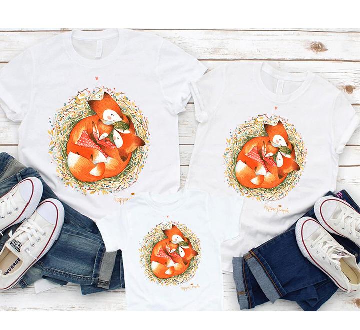 """Семейные футболки """"Семейное гнездышко"""" лисички"""