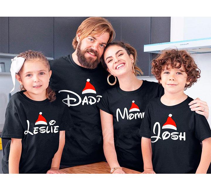 """Семейные новогодние футболки """"Мама, папа, имя ребенка"""" для четверых"""