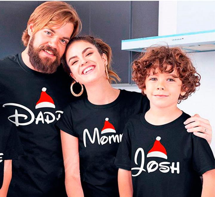 """Семейные новогодние футболки """"Мама, папа, имя ребенка"""" для троих"""