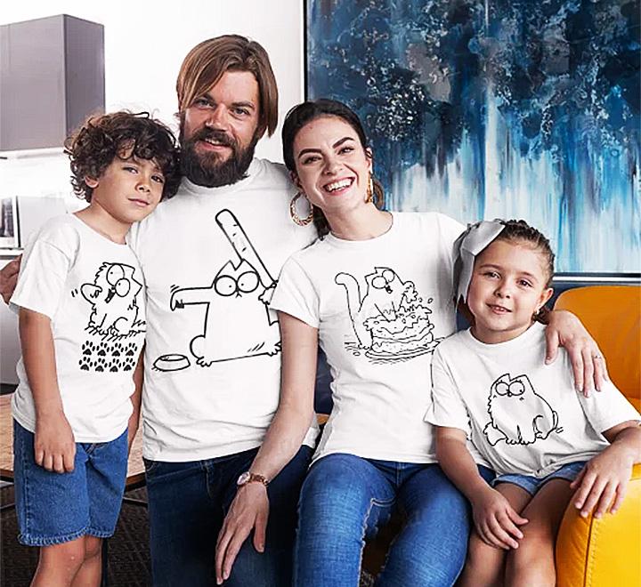 """Семейные футболки для семьи на четверых """"Кот Саймон"""""""