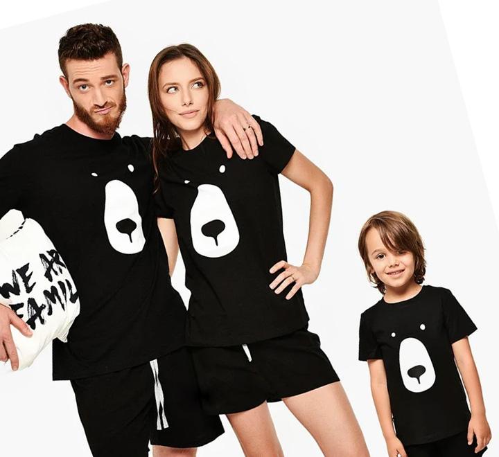 """Семейные футболки на троих """"Мишки"""" черные"""