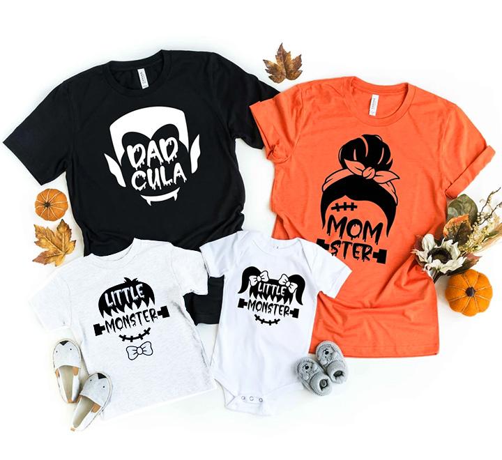 """Семейные футболки для четверых """"Monster family"""""""