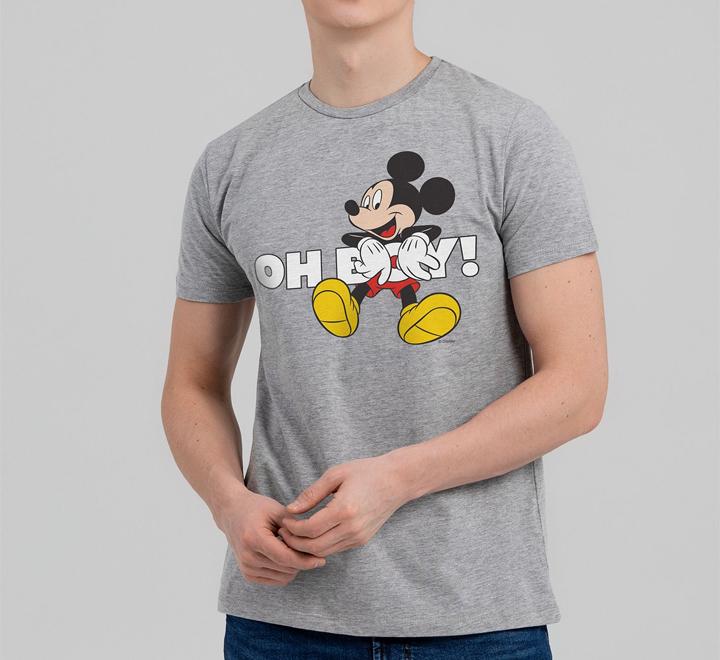Футболка «Микки Маус. Oh, Boy», серый меланж