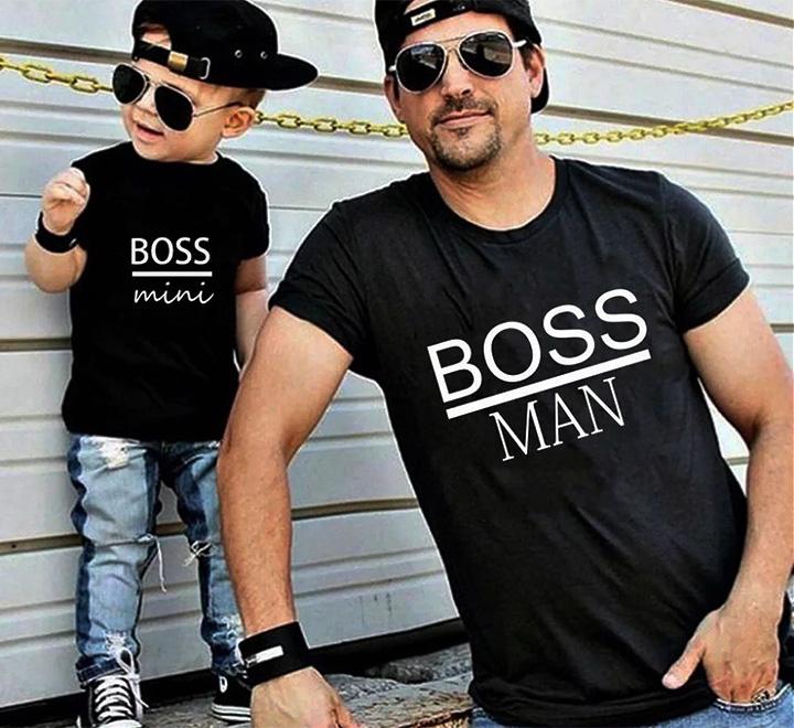 """Футболки для папы и сына """"Mini Boss. Boss man"""""""