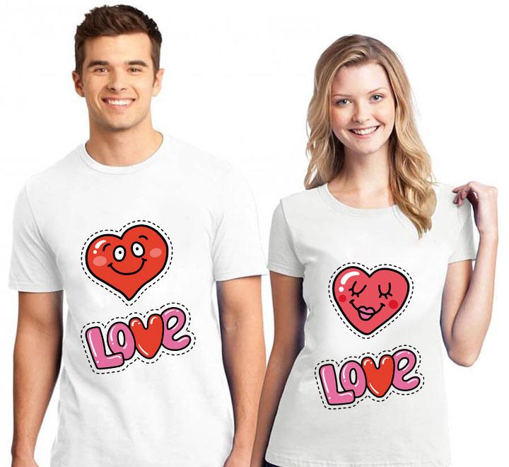 """Парные футболки """"Love"""" два сердечка"""