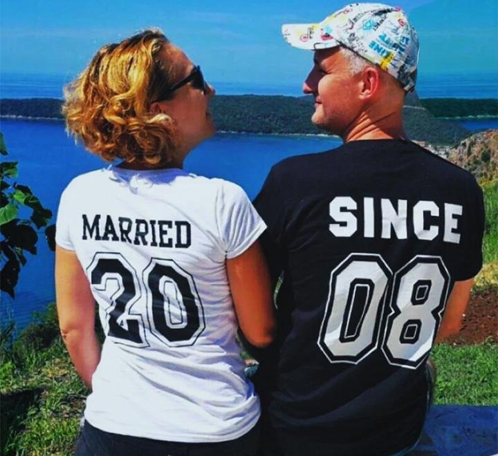 """Парные футболки на годовщину свадьбы """"Married since"""" укажите год"""