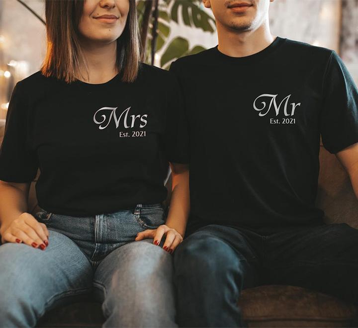 "Футболки на годовщину ""Mr, Mrs ваш год свадьбы"" серебро"