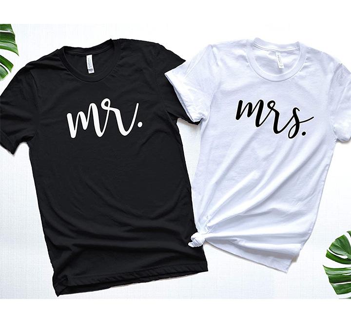 """Парные футболки для мужа и жены """"Mr Mrs"""" надпись"""