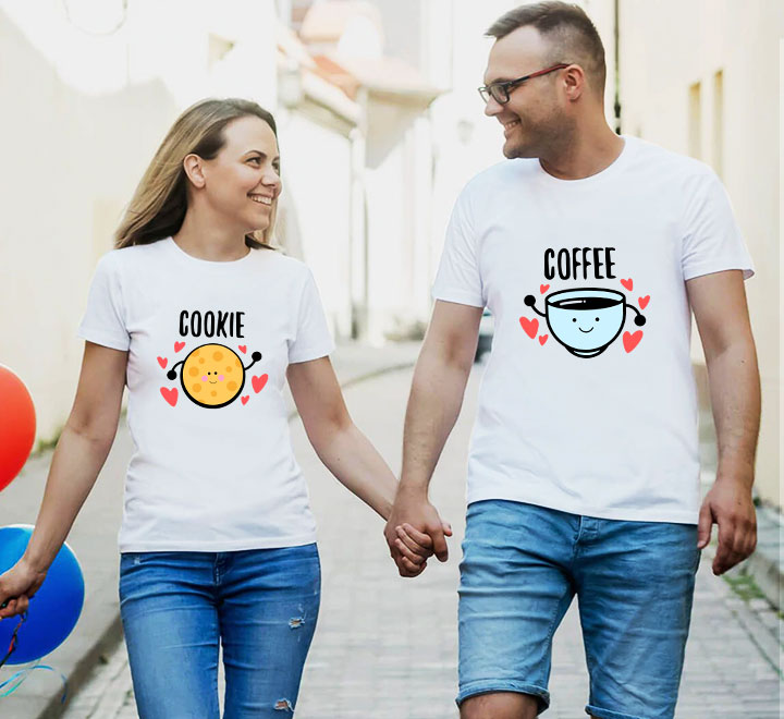 """Парные футболки для влюбленных  """"Coffee/Cookie"""""""