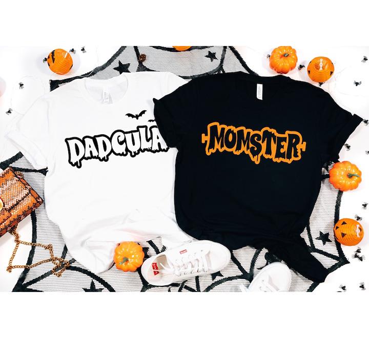 "Парные футболки на Хэллоуин ""Momster Dadcula"""