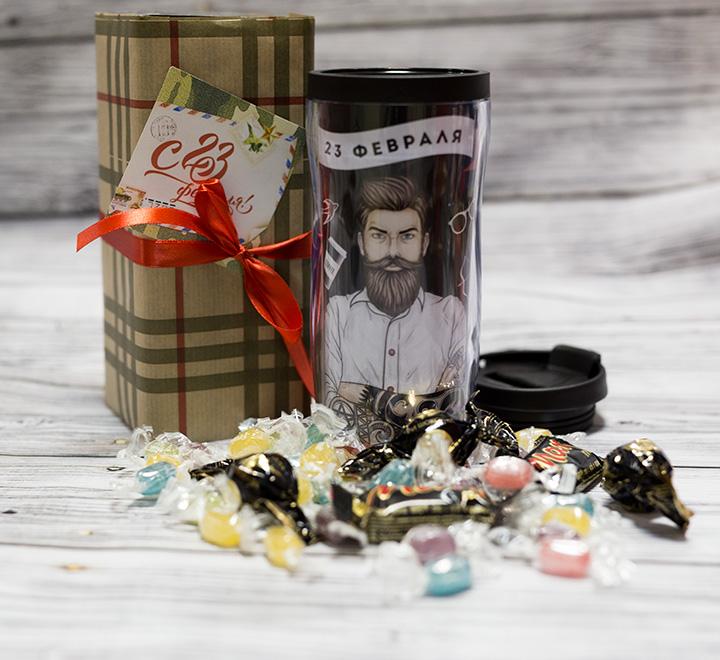 """Набор подарочный """"23 февраля"""" термостакан и конфеты"""