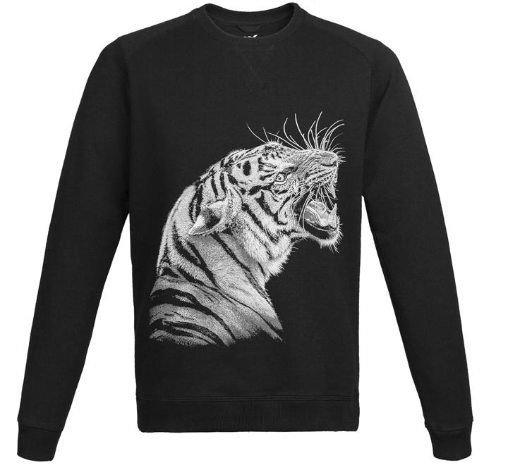 Свитшот унисекс Like a Tiger, черный