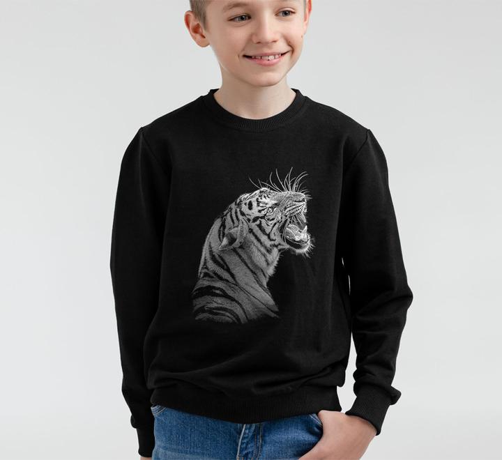 Свитшот детский Like a Tiger, черный