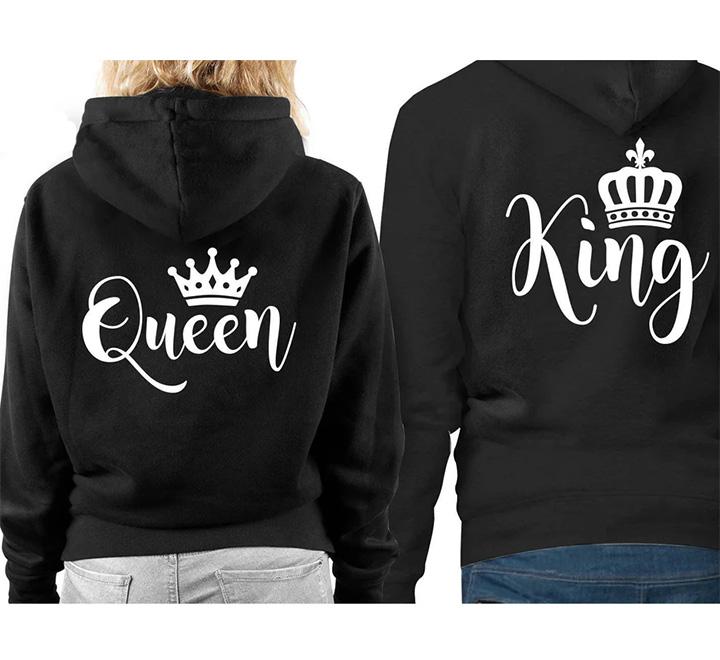 """Парные худи """"King, Queen"""" курсив"""