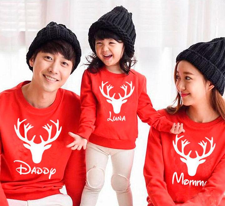 """Семейные свитшоты с оленем """"Mama, papa и имя Вашего ребенка"""""""