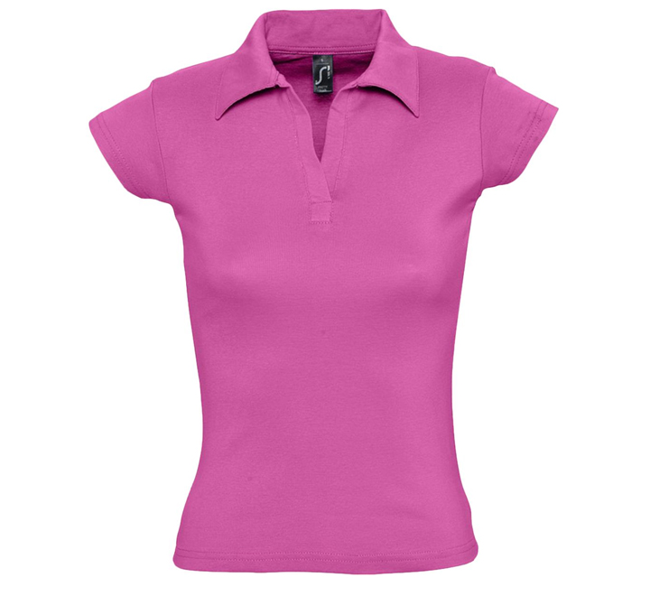 Рубашка поло женская без пуговиц ярко-розовая PRETTY. арт. 1835 SALE