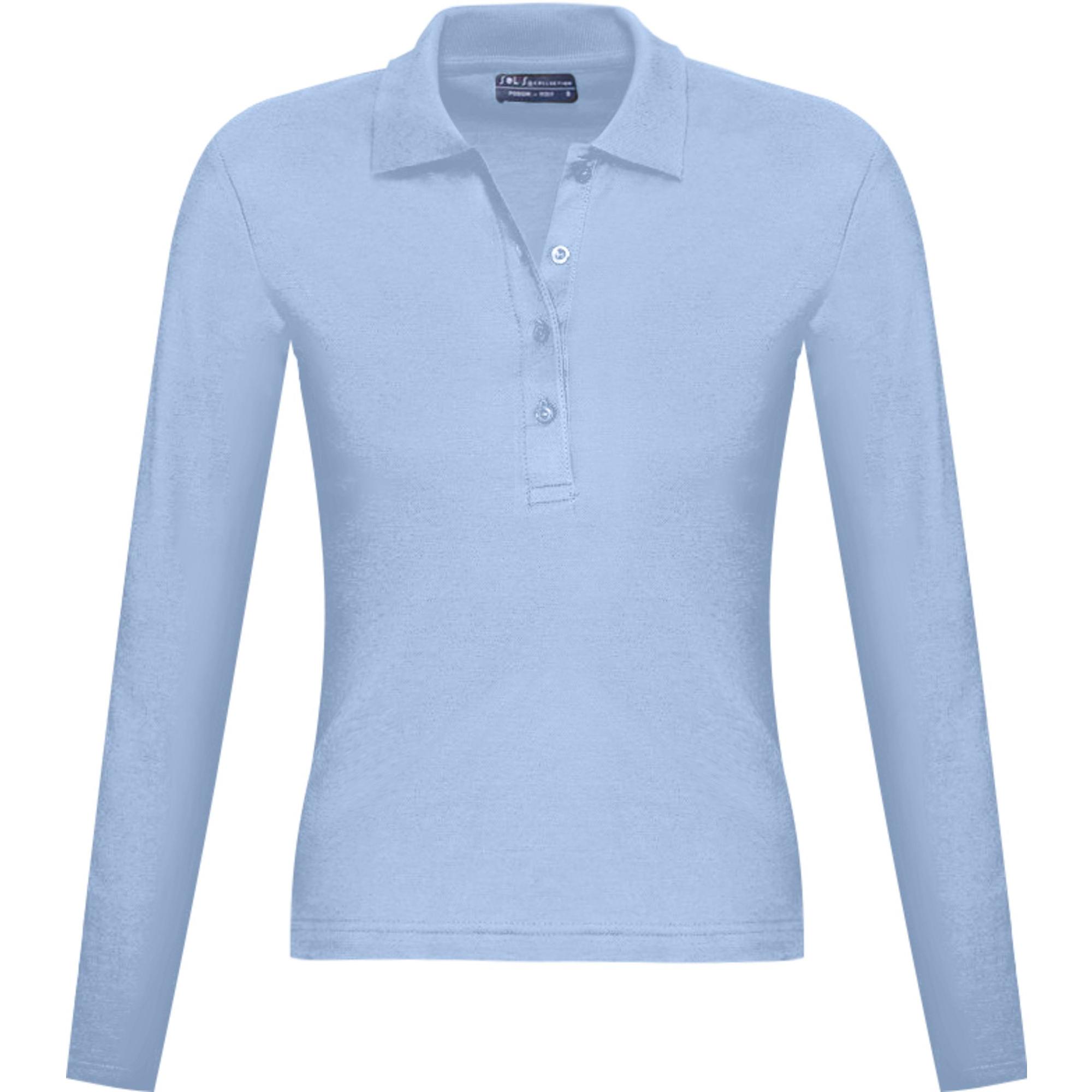 Рубашка поло женская с длинным рукавом Podium 210 голубая SALE
