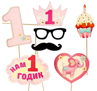 """Набор для фотосессии розовый """"Нам 1 годик"""" пирожное"""