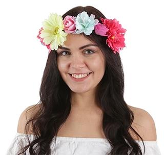 """Ободок для девичника """"Венок из разноцветных цветов"""""""