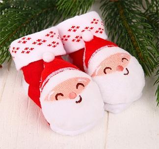 Носочки-погремушки «Дедушка Мороз»