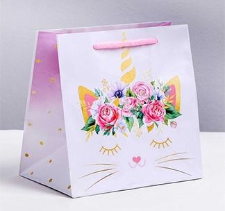 Пакет подарочный «Кошка-единорожка»