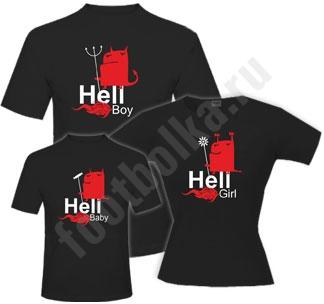 "Футболки для семьи ""Hell boy / girl / baby"" halloween"