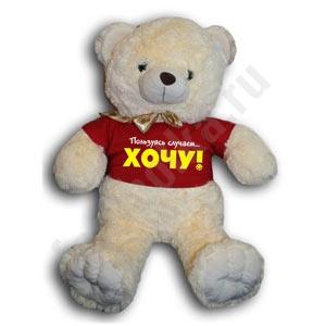 """Медвежонок в футболке """"ХОЧУ!!!"""""""