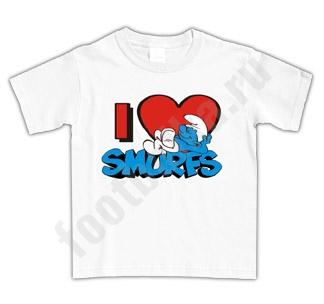 "Футболка детская ""I love Smurfs"""