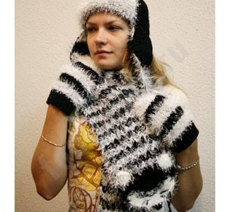 """Комплект """"Кот матроскин"""" шарф, шапка, варежки"""