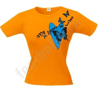 """Женская футболка """"Мое сердце свободно"""""""