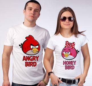 """Футболки для двоих """"Angry bird"""""""