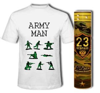 """Футболка """"Army man"""" в тубусе 23 февраля"""