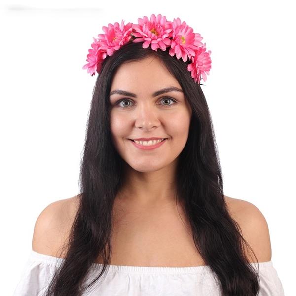 """Ободок для девичника """"Венок из розовых цветов"""" фото 0"""