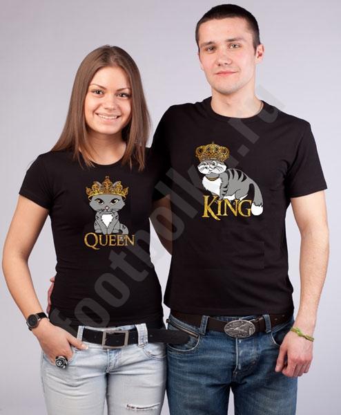 Парные футболки King сat/ Queen cat фото 0