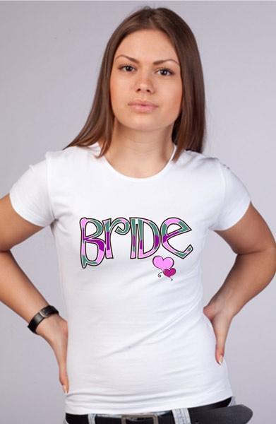 """Футболка с разноцветной надписью """"Bride"""" фото 0"""