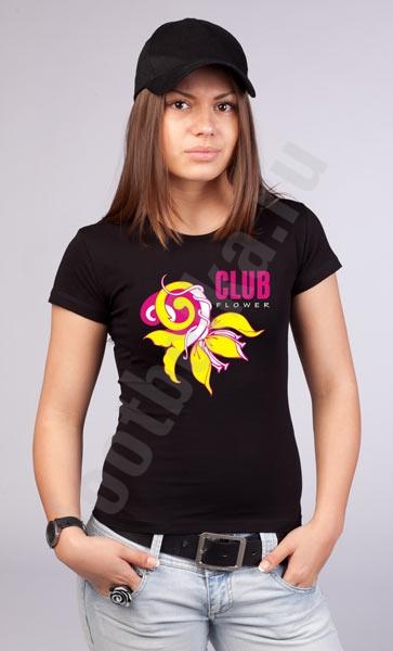 """Футболка """"Club flower"""" светится в УФ фото 0"""