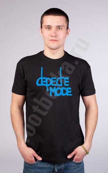 "Футболка ""Depeche Mode"" (голубая надпись)  фото 0"