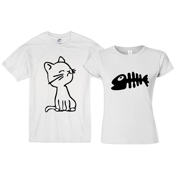 """Парные футболки """"Голодный кот"""" фото 0"""