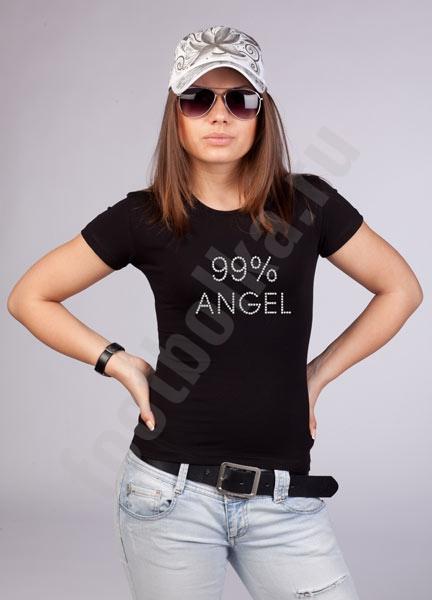 """Футболка """"99% ангел"""" стразы swarovski фото 0"""