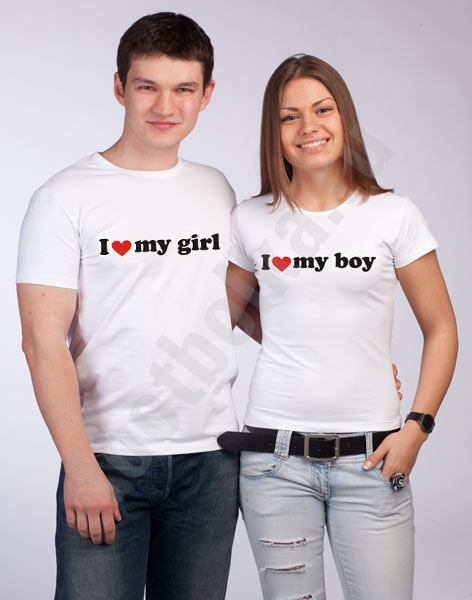 Футболки для влюбленных I love my girl / my boy фото 0