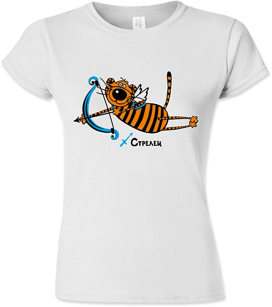 "Футболка женская знак зодиака ""Стрелец"" тигр фото 0"
