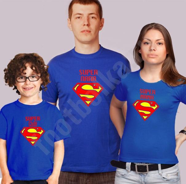"Семейные футболки ""Супер папа / Супер мама / супер сын"" фото 0"