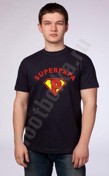 """Футболка """"Super Papa"""" черная фото 0"""