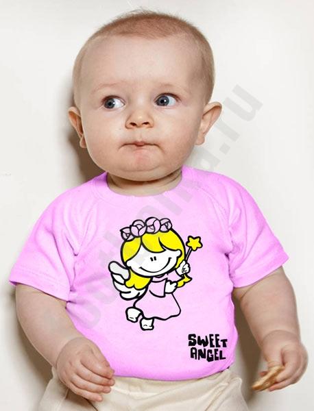 """Футболка детская """"Sweet angel (girl)"""" розовая фото 0"""