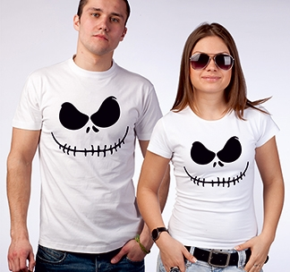 "Парные футболки halloween ""Black face"""
