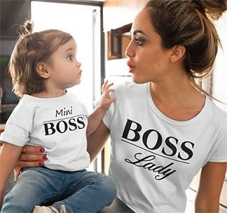 """Футболки для мамы и ребенка """"Lady Boss, Mini Boss"""" белые"""