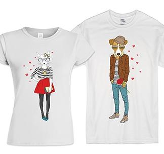 """Парные футболки """"Cat and Dog"""""""