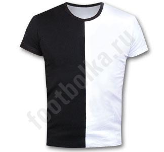 Мужская футболка стрейч черно-белая